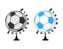 Παγκόσμιο ποδόσφαιρο Παιχνίδι σφαιρών σφαιρών Αθλητικό εξάρτημα ως γη spher Στοκ Εικόνα