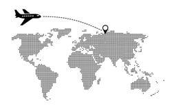 Παγκόσμιο ταξίδι με το χάρτη και αεροπλάνα με το δείκτη θέσης ελεύθερη απεικόνιση δικαιώματος