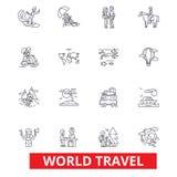 Παγκόσμιο ταξίδι, χειμερινός τουρισμός, να κάνει σκι, κατάδυση, πτήση, εικονίδια γραμμών διακοπών θερινών παραλιών Κτυπήματα Edit απεικόνιση αποθεμάτων