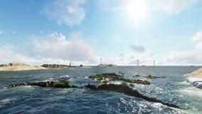 Παγκόσμιο τεχνητό νησί στο μακρινό νησί στην ημέρα απόθεμα βίντεο