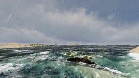 Παγκόσμιο τεχνητό νησί στο μακρινό νησί στη βροχή ελεύθερη απεικόνιση δικαιώματος