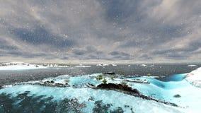 Παγκόσμιο τεχνητό νησί στο μακρινό νησί στο χιόνι απόθεμα βίντεο
