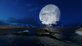 Παγκόσμιο τεχνητό νησί στο μακρινό νησί τη νύχτα φιλμ μικρού μήκους