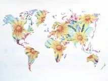 Παγκόσμιων χαρτών watercolor floral έργο τέχνης λουλουδιών ζωγραφικής συρμένο χέρι Στοκ φωτογραφία με δικαίωμα ελεύθερης χρήσης