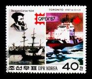 Παγοθραύστης αλεπούδων ` Ζακ Cartier, ` Grande Hermine ` και ` Terry, διεθνής έκθεση CAPEX Τορόντο γραμματοσήμων serie, circa 198 Στοκ Φωτογραφίες