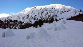 Παγοκαλύβες στα βουνά Στοκ Εικόνα