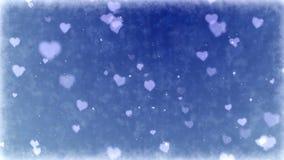 Παγωμένες καρδιές στο παγωμένο υπόβαθρο Άνευ ραφής ζωτικότητα βρόχων των διακοπών ημέρας βαλεντίνων ελεύθερη απεικόνιση δικαιώματος