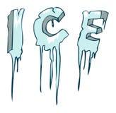 Παγωμένη λέξη πάγου, διανυσματική απεικόνιση Στοκ Εικόνες