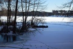 παγωμένη λίμνη η Κίνα κάλυψε το lushan χειμώνα τοπίων λιμνών πάγου Στοκ φωτογραφίες με δικαίωμα ελεύθερης χρήσης