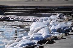 Παγωμένη λίμνη Μίτσιγκαν με τους παγωμένους βράχους Στοκ φωτογραφία με δικαίωμα ελεύθερης χρήσης