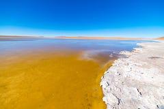 Παγωμένη αλατισμένη λίμνη στις Άνδεις, οδικό ταξίδι στο διάσημο αλατισμένο επίπεδο Uyuni, προορισμός ταξιδιού στη Βολιβία Στοκ εικόνα με δικαίωμα ελεύθερης χρήσης