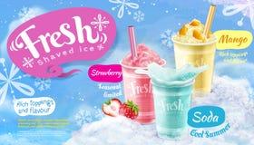 Παγωμένη καλοκαίρι ξυρισμένη πάγος αφίσα απεικόνιση αποθεμάτων
