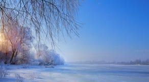 Παγωμένη λίμνη και χιονώδη δέντρα  Χειμερινό τοπίο Χριστουγέννων στοκ φωτογραφία
