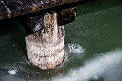 παγωμένη λίμνη που καλύπτεται με τον πάγο στα ευρωπαϊκά όρη μια κρύα ημέρα το χειμώνα στοκ φωτογραφίες