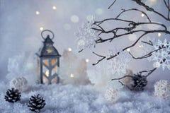 Παγωμένη χειμερινή χώρα των θαυμάτων με τις χιονοπτώσεις και τα μαγικά φω'τα Στοκ φωτογραφία με δικαίωμα ελεύθερης χρήσης