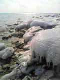 Παγωμένη όχθη ποταμού Στοκ Φωτογραφία