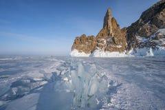 Παγωμένη Baikal λίμνη στη χειμερινή εποχή, Σιβηρία, Ρωσία στοκ φωτογραφίες