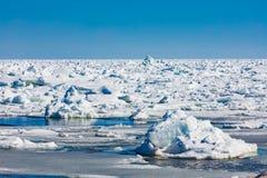 Παγωμένοι επιπλέοντες πάγοι πάγου του βόρειου Ατλαντικού Ωκεανού που καλύπτουν τη θάλασσα στοκ εικόνα με δικαίωμα ελεύθερης χρήσης