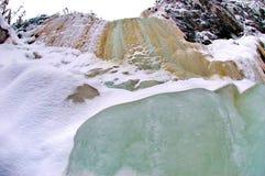 Παγωμένοι καταρράκτες Fozen που χρωματίζονται στις σκιές πράσινος και καφετής στο Lapland στοκ φωτογραφία με δικαίωμα ελεύθερης χρήσης