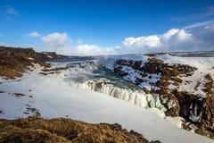 Παγωμένος καταρράκτης Gullfoss, Ισλανδία Στοκ Φωτογραφία