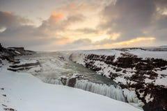 Παγωμένος καταρράκτης Gullfoss, Ισλανδία Στοκ εικόνες με δικαίωμα ελεύθερης χρήσης