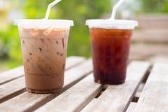 Παγωμένος μαύρος καφές κοκοφοινίκων και πάγου Στοκ φωτογραφίες με δικαίωμα ελεύθερης χρήσης