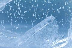 παγωμένος πάγος Αφηρημένη εικόνα επιπλέοντος πάγου πάγου πρόσκληση συγχαρητηρίων καρτών ανασκόπησης μακρο άποψη, μαλακή εστίαση Στοκ φωτογραφία με δικαίωμα ελεύθερης χρήσης