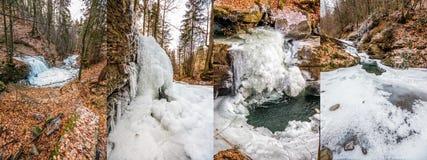 Παγωμένος ποταμός στο δασικό σύνολο εικόνας Στοκ εικόνα με δικαίωμα ελεύθερης χρήσης