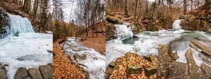 Παγωμένος ποταμός στο δασικό σύνολο εικόνας Στοκ φωτογραφία με δικαίωμα ελεύθερης χρήσης
