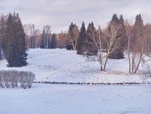 παγωμένος χειμώνας ύδατος ηλιοβασιλέματος τοπίων χλόης Χειμερινό πάρκο στο χιόνι Στοκ εικόνες με δικαίωμα ελεύθερης χρήσης