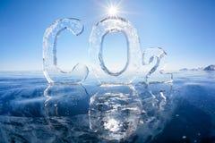 Παγωμένος χημικός τύπος του CO2 διοξειδίου του άνθρακα Στοκ Φωτογραφία