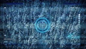Παγωμένο ανίχνευση τοπίο POV κηφήνων διανυσματική απεικόνιση