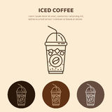 Παγωμένο διανυσματικό εικονίδιο ποτών Γραμμικό εστιατόριο, εικονόγραμμα καταστημάτων Στοκ Φωτογραφίες