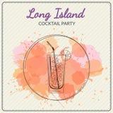 παγωμένο μακρύ τσάι νησιών Συρμένη χέρι διανυσματική απεικόνιση του κοκτέιλ ζωηρόχρωμο watercolor ανασκόπησης Στοκ Εικόνες