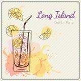 παγωμένο μακρύ τσάι νησιών Συρμένη χέρι διανυσματική απεικόνιση του κοκτέιλ ζωηρόχρωμο watercolor ανασκόπησης Στοκ φωτογραφία με δικαίωμα ελεύθερης χρήσης
