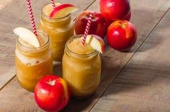 Παγωμένο μουλιασμένο ποτό μήλων με το μήλο Στοκ Εικόνες