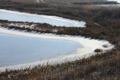 Παγωμένο νερό, σχέδια του χιονιού στις μικρές λίμνες στοκ εικόνες