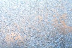 παγωμένο παράθυρο προτύπων Μακρο άποψη Στοκ Εικόνες