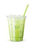 Παγωμένο πράσινο τσάι Matcha Latte στο άσπρο υπόβαθρο Στοκ εικόνες με δικαίωμα ελεύθερης χρήσης
