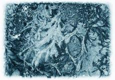 Παγωμένο σχέδιο στο παγωμένο παράθυρο Στοκ φωτογραφίες με δικαίωμα ελεύθερης χρήσης