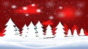 Παγωμένο τοπίο με έναν νυχτερινό ουρανό και ένα ηλιοβασίλεμα Snowflakes αφορούν ένα χειμερινό τοπίο ελεύθερη απεικόνιση δικαιώματος