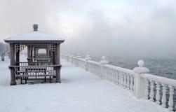 παγωμένο χειμερινό πρωί στο riverbank γέφυρα παρατήρησης που καλύπτεται με το χιόνι Λεπτοί κλάδοι των δέντρων που καλύπτονται με  Στοκ φωτογραφίες με δικαίωμα ελεύθερης χρήσης