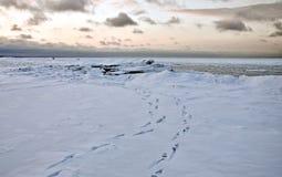 Παγωμένο seascape με τα ζωηρόχρωμα σύννεφα στο ηλιοβασίλεμα Στοκ εικόνες με δικαίωμα ελεύθερης χρήσης