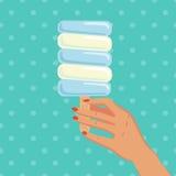 Παγωτό λαβής γυναικών επίσης corel σύρετε το διάνυσμα απεικόνισης Στοκ εικόνες με δικαίωμα ελεύθερης χρήσης