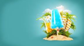 Παγωτό ανανέωσης και τροπικός φοίνικας ελεύθερη απεικόνιση δικαιώματος