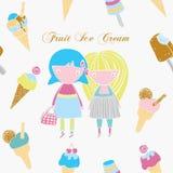 Παγωτό και κορίτσια. Διανυσματική απεικόνιση