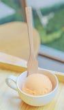 Παγωτό και ξύλινο κουτάλι στο φλυτζάνι Στοκ Εικόνες