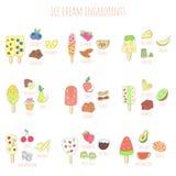 Παγωτό και συστατικά Doodle Στοκ φωτογραφία με δικαίωμα ελεύθερης χρήσης
