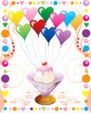 παγωτό καρδιών μπαλονιών Στοκ Εικόνα
