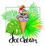 Παγωτό με τα τροπικά φύλλα ελεύθερη απεικόνιση δικαιώματος